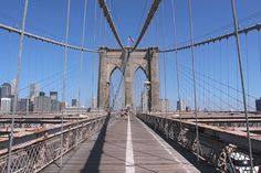 By crossing the Brooklyn bridge on foot you get a very nice view of lower Manhattan.  It took 14 years to build this bridge and was open to circulation on may 24 1883.  It's the oldest suspended bridge of United States.