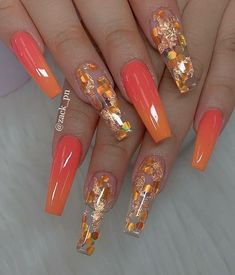 Fall Nail Art Designs, Pretty Nail Designs, Best Nail Designs, Coffin Nail Designs, Coffin Nails Designs Summer, Orange Nail Designs, Gorgeous Nails, Pretty Nails, Milky Nails