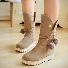 cool Shoespie Nubuck Ball Decoration Snow Boots