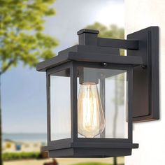 "Black Outdoor Wall Sconce Lighting in Black Aluminum Alloy - 6.7"" * 9.1"" * 11.8"" (6.7"" * 9.1"" * 11.8"")"