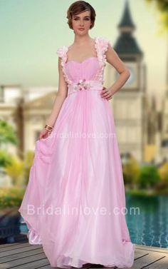 A-line Sweetheart Floor Length Tencel Chiffon Pink Prom Dress