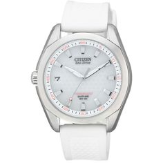 Citizen Watch, Women's Eco-Drive Titanium Golf White Rubber Strap 35mm ❤ liked on Polyvore