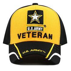 dac698becf9 THE HAT DEPOT 1100 Military Licensed U.S. Army Logo Veteran Cap (Black Gold)