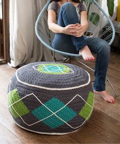 Anyone want to crochet a few of these for me??! Argyle Bean Bag Ottoman Free Crochet Pattern from Red Heart Yarns