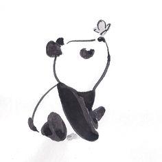 Cute Panda Drawing, Cute Animal Drawings, Pencil Art Drawings, Art Drawings Sketches, Easy Drawings, Drawing Animals, Cute Drawings Tumblr, Cute Little Drawings, Couple Drawings
