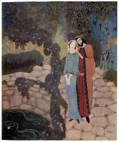 """Edmund Dulac:  """"Stealers of Light by the Queen of Roumania"""" 'The man had his arm lightly laid across the tall girl's shoulders; they might have been lovers, so tender was his touch.'"""