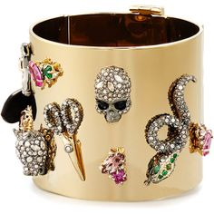Alexis Bittar Crystal Figurine Cuff Bracelet ($525) ❤ liked on Polyvore featuring jewelry, bracelets, gold, crystal jewellery, hinged bangle, cuff bracelet, alexis bittar jewelry and crystal stone jewelry