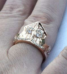 Rose Gold Ring Disney Princess Aurora  Maleficent Tiara Sleeping Beauty on Etsy, $24.99