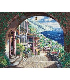 """Dimensions Gold Collection Coastal View Counted Cross Stitch Kit-15""""X12"""" 18 Count at Joann.com"""