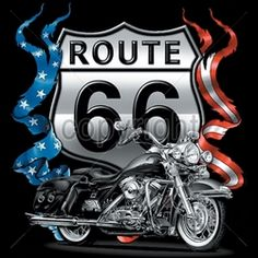 Wholesale Biker T Shirts, Custom T-Shirts - 11622-12x13-route-66-pocket-route-66-bike-biker