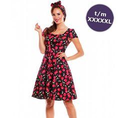 9e3b5ea45500db Claudia jurk met kersen print zwart rood - Vintage 50 s Rockabilly retro  Rockabilly