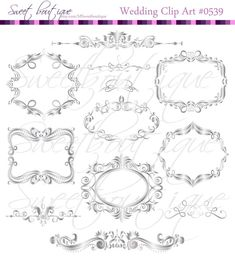 SILVER Digital Frames Scrapbook Border Clipart by MSweetboutique, $5.99