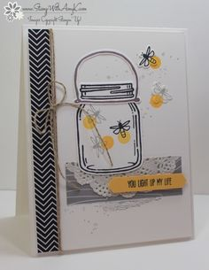 I used the Stampin' Up! Jar of Love and Timeless Textures stamp sets to create my card for the Fab Friday 93 Sketch Challenge this week. Mason Jar Cards, Mason Jars, Karten Diy, Bee Cards, Stampin Up Catalog, Love Stamps, Arte Floral, Jar Crafts, Creative Cards