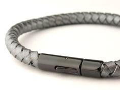 grey braided bolo leather man bracelet