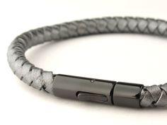 grey braided bolo leather man bracelet