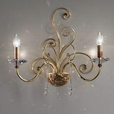 MASCA 2 light wall bracket  Cod: 1828/A2  Wrought hand-made wall light with Swarovski crystal pendants
