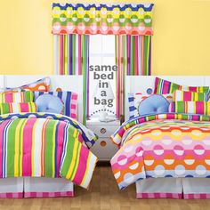 1 Bed in a bag - with 192 Combinations! Switch it. Reverse it. Mix it. Match it. Little MissMatched girls bedding sets provide endless combinations to your bedroom. My girls' bed-in-a-bag-has over 192 unique combinations....that's enough combos to switch up your bed every other day for an entire year.
