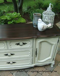 French Provincial painted buffet dresser. Top finished with GF Java Gel Stain and cabinet painted with Annie Sloan Chalk Paint old white. www.niagarafurniturepainting.com