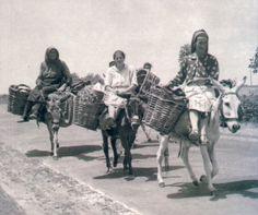 Vendedeiras saloias de regresso do mercado (aprox. anos 50) via http://www.burricadas.org/page5.htm