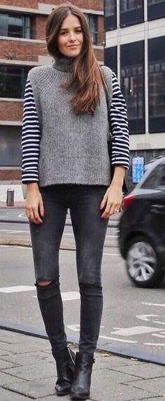 Blank Itinerary Stripe Contrast Sleeve Sweater Fall Street Style Inspo