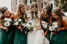 How gorgeous is this green bridal party! We are in love with this beautiful shade of green for a springtime wedding! Satin bridesmaid dresses create a modern bridal party you'll love! | #greenbridesmaiddresses #bridesmaiddresses #emeraldgreenbridesmaiddresses | Style F20099, F20098, DS270091, F20095 in Juniper, WG3880 | Shop these styles and more at davidsbridal.com! | Photo by: @glenaigilbertphoto Emerald Green Bridesmaid Dresses, Rustic Wedding Inspiration, Davids Bridal, Shades Of Green, Bridal Style, Green Colors, Bridesmaids, Gowns, Wedding Dresses