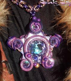 """Voyager""; Cosmic Clay by Spirit Spellweaver --Clay & Swarovski Crystal Star Pendant.  Sold."