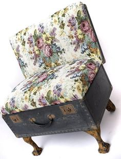 modern fabric prints for making upholstered chairs and recycling suitcases