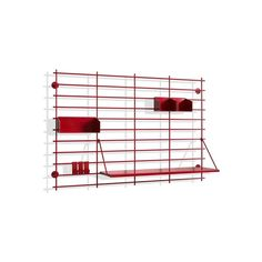It includes a steel a shelve in birch plywood, Two small steel storage units, one. Shelving Systems, Dark Red, Packaging, Interior Design, Storage, Furniture, Home Decor, Grande, Wire