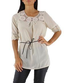 Langärmlige transparente leichte Damen Tunika Bluse mit Spitze und Gürtel Einheitsgröße S/M 34,36,38,40 (Beige) Tunic Tops, Shirts, Fashion, See Through, Clothing, Women's, Moda, Fashion Styles, Dress Shirts
