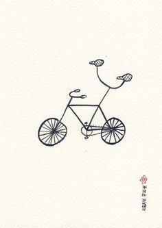 Double Bike pen & ink drawing by The Maple Ridge