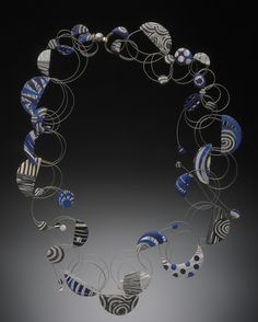 Bonnie Bishoff - Wire Loop Necklace - polymer veneers and steel cable