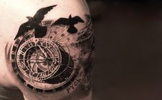 Intricate 3D clock tattoo by Niki Norberg