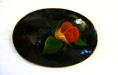 Rose Brooch Hand Painted Flower On Pin by SylCameoJewelsStore