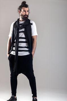 Seamed strips tee  Sleeveless asymmetric vest  Cotton pants