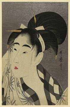 汗を拭く女   あせをふくおんな Ase o fuku onna  喜多川歌麿  きたがわ うたまろ Kitagawa Utamaro