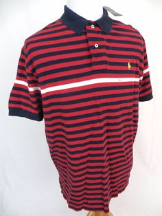 Polo Ralph Lauren Shirt XL NEW Striped Red Blue Embroidered Pony 100% Cotton NWT #PoloRalphLauren #PoloRugby