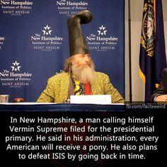 Vermin Supreme President 2016 Hooded SWEATSHIRT HOODIE