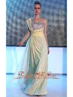 Light Yellow Empire One Shoulder Floor-length Chiffon and Sequin Beading and Ruch Prom / Celebrity Dress  http://www.fashionos.com  sleeveless prom dress | spring prom dress | long prom dress on sale | light yellow prom dress | empire long prom dress | one shoulder floor length prom dress | one shoulder prom dress | floor length prom dress | where to find a one shoulder prom dress | free shipping long prom dress |