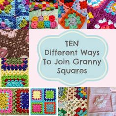 Knot Your Nana's Crochet: Different Ways To Join Granny Squares Knot Your N. Knot Your Nana's Crochet: Different Ways To Join Granny Squares Knot Your Nana's Crochet: Connecting Granny Squares, Joining Crochet Squares, Motifs Granny Square, Granny Square Pattern Free, Granny Square Tutorial, Sunburst Granny Square, Granny Square Projects, Granny Square Blanket, Crochet Granny