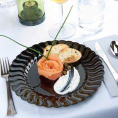 "Elegant Disposable Flaired Black 7.5"" Salad Plastic Round Plates - Posh Party Supplies"