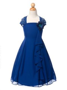 Royal Blue Elegant Chiffon Eyelid Lace Girl Dress (Sizes in 5 colors) - Found Perfect Flower girl dress! Cute Girl Dresses, Girls Lace Dress, Flower Girl Dresses, Flower Girls, Chiffon Ruffle, Eyelet Lace, Lace Back, Pretty Flowers, Frocks