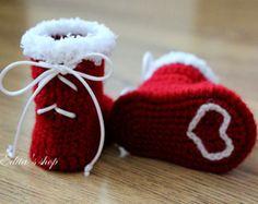 Вязание крючком Детские пинетки, детская обувь, ботинки, красный, белый, лента, Рождество, Санта, готова к отгрузке, фото prop, Размер 0-3 мес, в дар