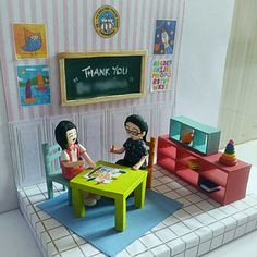 """Paper-clay art miniatures """"Kindergarten"""""""