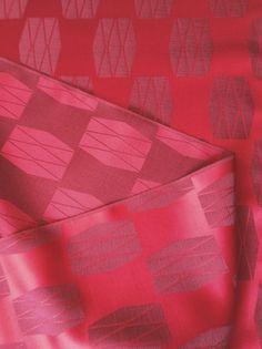 Vintage Japanese Kimono Silk Fabric - Hot Pink/Red and lavender geometric design, via Etsy.