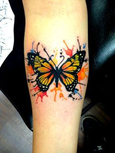 Watercolor butterfly! Artist: Chuck Schmidt The Parlor tattooing  www.theparlortattooing.com