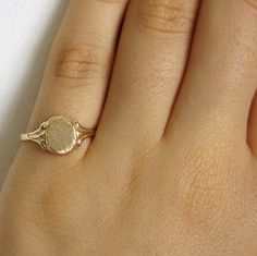 gold ring signet ring pinky ring oval statement ring by sohocraft