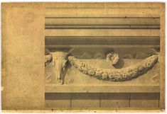 Henri Labrouste: Structure Brought to Life,Henri Labrouste (French, 1801-1875). Tomb of Caecilia Metella on the Appian Way, Rome. Details of the frieze and profile of the entablature. 1825-1830. Pen, ink, wash and watercolor highlights on paper. Académie d'Architecture, Paris