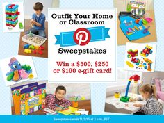Think you can pin the perfect learning space for your kids? Give it a try to enter our Outfit Your Home or Classroom Sweepstakes and get the chance to win a $500, $250 or $100 e-gift card!