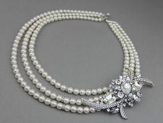 Swarovski Crystal & Pearl Bridal Statement Necklace