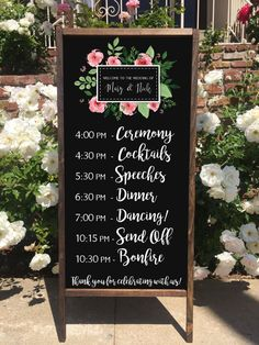 This beautiful Wedding Schedule rustic sandwich board is perfect for any Outdoor or Indoor wedding! It is all hand crafted and hand painted with